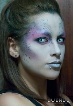 A simple, yet beautiful makeup effect - good for maybe an angel or an alien. / Paired with all-white FX contacts => http://www.pinterest.com/pin/350717889705706572/
