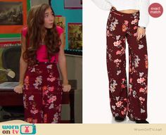 Riley's burgundy floral high waisted pants on Girl Meets World.  Outfit Details: http://wornontv.net/35043/ #GirlMeetsWorld