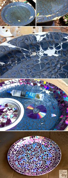 Repair broken birdbath using recycled DVDs