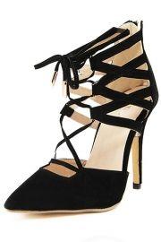 Summer Faux Suede Cross Slim Strap Kitten Heel Pump Shoes
