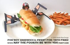 Star Wars Poe'boy X-Wing Sandwich with Sweet Poe-tato Fries Star Wars Themed Food, Star Wars Party Food, Star Wars Food, Holiday Recipes, Dinner Recipes, Dinner Ideas, Star Wars Crafts, Wing Recipes, Food Themes