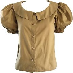 Preowned Rare 1970s Willi Smith Khaki Tan Cotton Puff Sleeve Avant... ($595) ❤ liked on Polyvore featuring tops, blouses, brown, puff sleeve blouse, puff shoulder blouse, tan blouse, puffed sleeve blouse and puff sleeve top