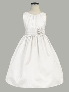 Off White Pleated Solid Taffeta Dress w/ Hand Rolled Flower pinkprincess.com