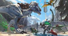 ARK:survival Une image animé  du jeu que nous allons  vous présentez.