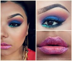 makeup, eyebrows, glitter lips, glitter makeup