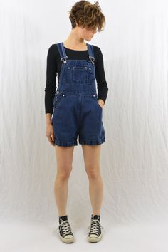 Vintage Denim Shortalls, Size XS-Small, Grunge, 90's Clothing, Tumblr Clothes, Hipster, Overall Shorts by littleraisinvintage on Etsy
