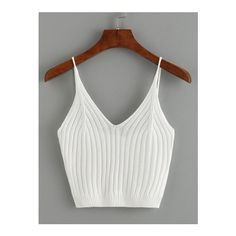 SheIn(sheinside) Ribbed Knit Crop Cami Top (29 BRL) ❤ liked on Polyvore featuring tops, crop top, shirts, blusas, tank tops, white, cami tank tops, white camisole, spaghetti strap tank top and crop tank