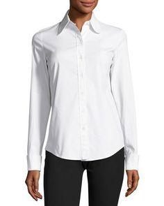 MICHAEL KORS Stretch-Poplin Button-Front Blouse, White. #michaelkors #cloth #