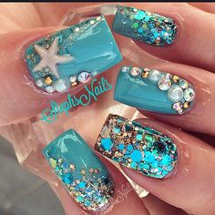 Mermaid nails magical designs 25 trendy nails disney princess ariel the little mermaid nails Fancy Nails, Trendy Nails, Cute Nails, Fabulous Nails, Gorgeous Nails, Sea Nails, Vacation Nails, Mermaid Nails, Mermaid Glitter