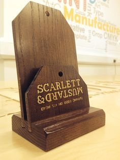 Scarlett & Mustard wooden menu holder. Engraved Ash, hardwood brochure display stand