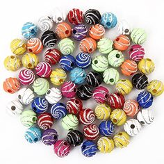 Bingcute 300Pcs 8mm Screw Shiny Acrylic Round Ball Spacer...