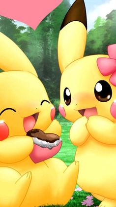 They are Partner Pikachu, the cute Electric-type Starter Pokemon of Kanto that don't want to evolve. Pika power on! Pokemon Go, Pikachu Pikachu, Pikachu Mignon, Anime Pokemon, Anime Kawaii, Pokemon Fusion, Pokemon Cards, Kawaii Art, Pokemon Backgrounds