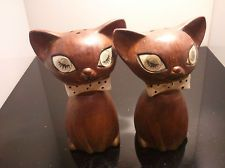 Antique Lego Porcelain Cat Salt and Pepper Shakers Eyes open and Close!! Rare