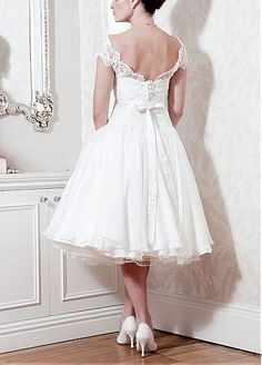 Short Over Lace & Organza Satin & Satin & Stabilized Tricot Ball gown Bateau Neck Tea-length Wedding Dress