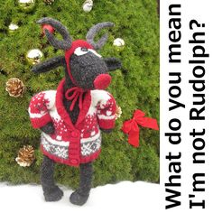 ---The perfect outfit for the North Pole this Christmas. A cosy festive themed Shawl Collar Jacket with tiny sheep (Ramdeer) motif's worked around the body and sleeves. To complete the outfit, a wobbly red nose and a handsome pair of antlers. Knitting Projects, Knitting Patterns, Black Faced Sheep, Reindeer, Ravelry, Dinosaur Stuffed Animal, Crochet Hats, Seasons, Crafty