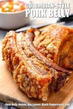 [recipe] This recipe is hugely inspired by the crispy pork belly specialty known as the Chicharron Colombiano. I really love how pork belly can end up having diverse textures in just a single Pork Recipes, Mexican Food Recipes, Cooking Recipes, Crispy Pork Belly Recipes, Fried Pork Belly, Hawaiian Recipes, Crispy Pork Skin Recipe, Best Pork Belly Recipe, Pork Belly Roast