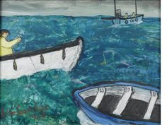 Alan Lowndes (British, 1921-1978) Ships that pass / St.Ives artist