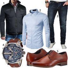 Elegant men's style with light blue Kuson shirt, dark blue A. Salvarini jeans, black quilted jacket by Trisens, large Diesel men's wristwatch and Bugatti shoes.  1. Jacket► amzn.to/2GdVyIP 2. Shirt► amzn.to/2GdVoRJ 3. Jeans► amzn.to/2IjWWu6 (-57%)  4. Uhr► amzn.to/2Ihet5S (-40%)  5. Shoes► amzn.to/2Gfo0d2