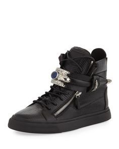 Men\'s Lizard-Print Leather High-Top Sneaker, Black by Giuseppe Zanotti at Neiman Marcus.