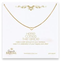 """here comes the bride 18"""" gold necklace"""