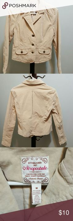 Aeropostale soft corduroy blazer (2) Nice lined cream classic style blazer  wears great with your favorite jeans or kaki  small little spot on left sleeve  other chocolate brown both pleated back.. button down with 2 working pockets Aeropostale Jackets & Coats Blazers