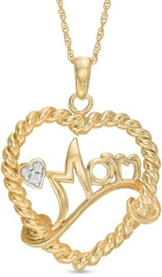 Zales Diamond Accent Mom Heart Necklace in Sterling Silver with Yellow Rhodium 2Fau9AZL