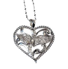 DIAMOND HEART Pendant with chain  CHRISTMAS IN JULY   http://stores.ebay.com/JEWELRY-AND-GIFTS-BY-ALICE-AND-ANN