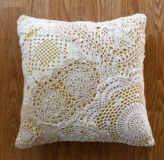 DIY cushion #white #yellow #lace