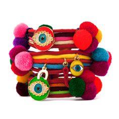 Evil Eye Lucky Charm Pompom Bracelet...need a stack of these