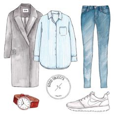 Good objects - Saturday's outfit @issalondon Grey coat @hm Striped shirt & jeans @the_horse Watch @nikewomen Nike Roshe shoes #goodobjects #illustration
