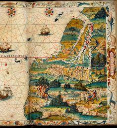 Zeeatlas. Frankrijk, 1538. Perkament, 39 folia, 440 x 312 mm. - 129 A 24, fol. 16r