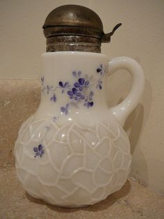 ANTIQUE EAPG HP MILK ART PATTERN GLASS WHITE BLUE FLORAL SYRUP PITCHER SERVER