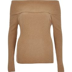 Beiger, langärmeliger Bardot-Pullover - Pullover - Strickwaren - Damen