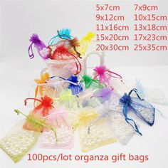 Cheap Gift Bags & Wrapping Supplies, Buy Quality Home & Garden Directly from China Suppliers:100pcs 5x7 7x9 9x12 10x15 13x18cm Small Gift Bag Organza Gift Packaging Wedding Party Candy Bags Pouches Gift Bags With Handles Enjoy ✓Free Shipping Worldwide! ✓Limited Time Sale ✓Easy Return. Cheap Gift Bags, Small Gift Bags, Jewelry Packaging, Gift Packaging, Bag Display, Diy Jewelry, Cheap Jewelry, Wedding Jewelry, Christmas Gift Bags