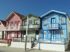 Costa Nova decorated houses.  Costa Nova is a popular beach community near Aveiro.