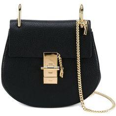 Chloé Mini Drew Bag ($1,085) ❤ liked on Polyvore featuring bags, handbags, shoulder bags, black, shoulder handbags, chain handle handbags, shoulder bag purse, mini handbags and chloe purses