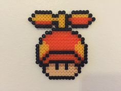 perler bead mushroom Propeller by Bjrnbr Hama Beads Mario, Fuse Beads, Pearler Beads, Hama Beads Patterns, Beading Patterns, Pixel Art, Mario Crafts, Art Perle, Pixel Pattern