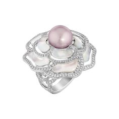 Chanel Camélia Nacré ring in white gold, from the new Les Perles de Chanel collection, set with brilliant-cut diamonds, a freshwater cultured pearl and carved mother of pearl.