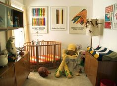 Midcentury modern nursery- that crib!