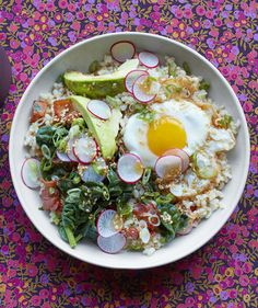 Brown Rice Bowl With Egg and Avocado | RealSimple.com. looks deeeeelish. think hubby will go for it?