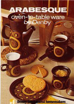 Denby. Arabesque. 1962-62. Made from Denby Stoneware a marketing image of Gill Pemberton's Arabesque.