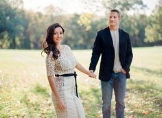 Wisconsin fall engagement photos. Anthropologie dress. Contax 645 film. Anna Page Photo.
