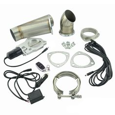 2.5 Inch Stainless Steel Headers Y Pipe Muffler Catback Bypass Exhaust Cut Out Down Pipe Remote Control Electric Exhaust Cutout