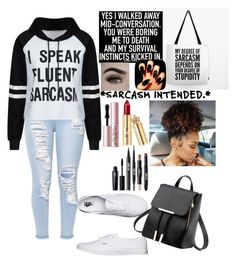 """""""Sarcasm Queen"""" by officialprincess101 ❤ liked on Polyvore featuring Vans and Too Faced Cosmetics"""