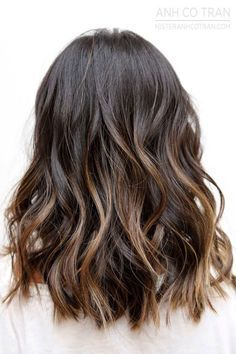 Image result for ombre for dark brown medium length hair