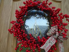 Red Christmas, Christmas Gifts, Christmas Decorations, Twig Wreath, Door Wreath, Red Berry Wreath, Square Wreath, Holiday Wreaths, Berries