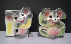 Salt & Pepper Shakers Vintage Rare Anthropomorphic Sweet Happy Mice Mouse Japan