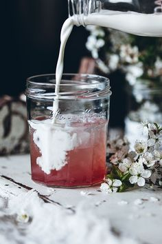Rhubarb Italian cream soda | Call me cupcake | try blackberry with 1 cup blackberries (or mulberries?), 1 cup water, and 1 cup sugar for sauce (add mint leaves or rose petals?)