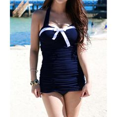 Color Block Halter Neck Bow Tie Embellished Sexy Style Women's One Piece Swimsuit, PURPLISH BLUE, XL in Swimwear | DressLily.com