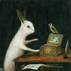 "Fine Art Print of an Original Animal Painting: ""La Serinette or Lady with a Bird Organ"""
